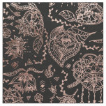 Boho dreamcatcher rose gold black illustration fabric