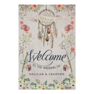 Boho Dreamcatcher Welcome to the Wedding of Sign Poster