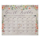 Boho Due Date Calendar Sign Baby Shower Game