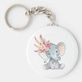 Boho Elephant Pink Floral Keychain Birthday