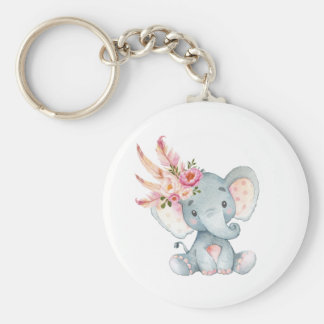 Boho Elephant Pink Floral Keychain Birthday Favors