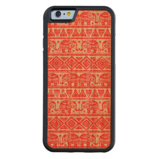 Boho ethnic elephant pattern carved cherry iPhone 6 bumper case