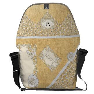 BOHO Faux Burlap n Lace gypsy Modern Style Mod Commuter Bags