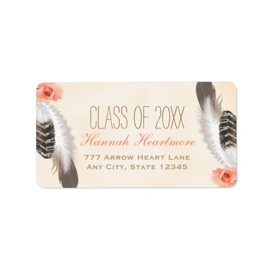 BOHO FEATHER AND FLORAL GRADUATION ADDRESS LABEL