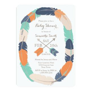 Boho Feather & Arrow Navy Orange Teal Baby Shower 13 Cm X 18 Cm Invitation Card