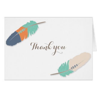 Boho Feather Baby Shower Thank You Navy Orange Note Card