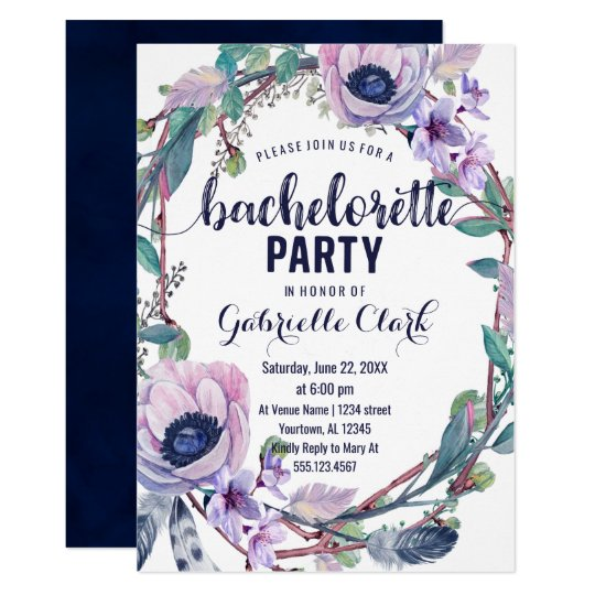 Boho Feather Bachelorette Party Invitation