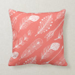 Boho Feather Pattern Live Coral Cushion