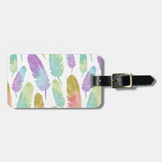 Boho Feather Pattern Rainbow Watercolor Luggage Tag