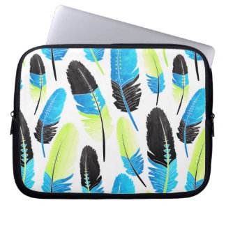 Boho Feather Pattern Watercolor Neon Blue and Gree Laptop Sleeve