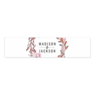 Boho Feather Peach Floral Wreath Wedding Monogram Napkin Band