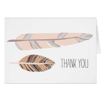 Boho Feather Thank You Card