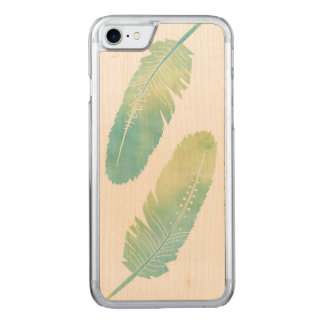 Boho Feather Watercolor Green and Blue Carved iPhone 8/7 Case