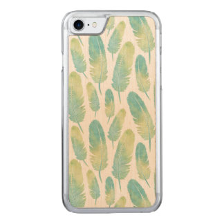 Boho Feather Watercolor Green and Blue Pattern Carved iPhone 8/7 Case
