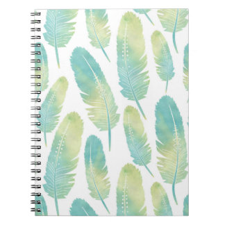 Boho Feather Watercolor Green and Blue Pattern Notebook
