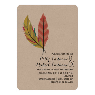 Boho Feather Wedding Invitation