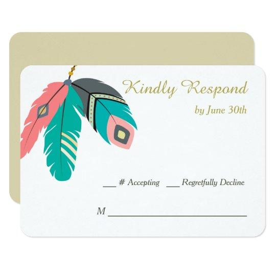 Boho Feather Wedding RSVP Card