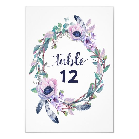 Boho Feather Wedding Table Number Seating Chart