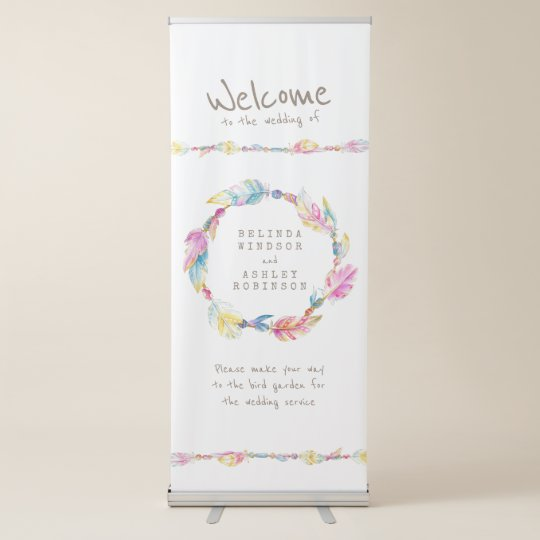 Boho feather wreath watercolor art welcome banner