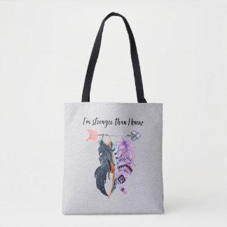 Boho Feathers and Arrow Motivational Saying Tote Bag