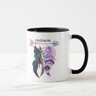 Boho Feathers and Arrow Personalised Mug