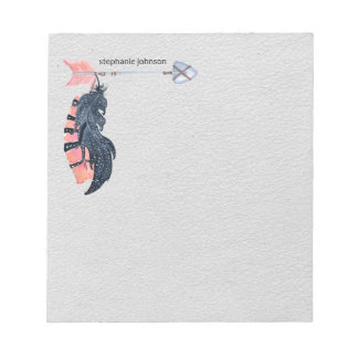 Boho Feathers and Arrow Personalised Notepad
