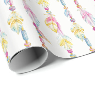 Boho feathers and beads watercolor art wrap wrapping paper