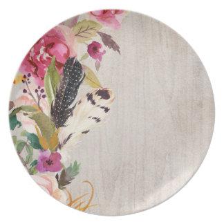 Boho Feathers and Flowers Plate
