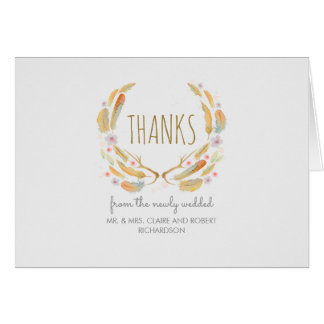 Boho Feathers Antlers Rustic Wedding Thank You Card