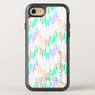 Boho Feathers Bohemian Multicolor Long Tail Bird OtterBox Symmetry iPhone 8/7 Case
