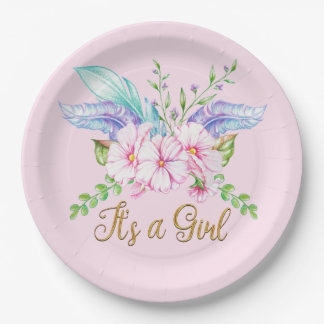 Boho Feathers Floral Girl Baby Shower Paper Plates