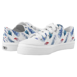 Boho Feathers Watercolor Pattern Low Tops