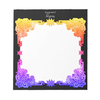 Boho Floral Bohemian Bold Colorful Drawn Tapestry Notepad