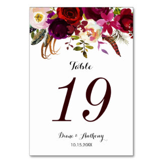 Boho Floral Burgundy Wedding Table Number