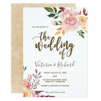 boho floral feather modern wedding invitation