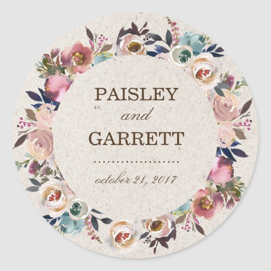 Boho Floral Feather Rustic Shower Wedding Sticker