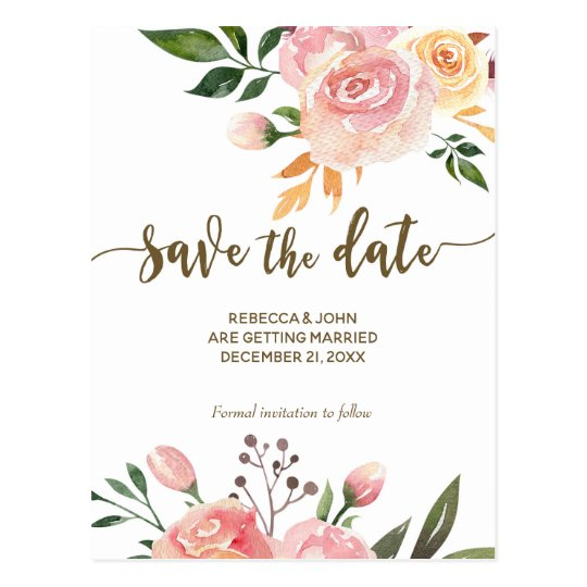 boho floral feather wedding save the date postcard