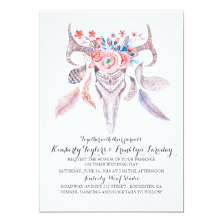 Boho Floral Feathers Deer Antlers Wedding Card