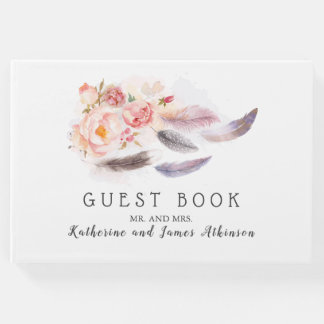 Boho Floral Feathers Guest Book