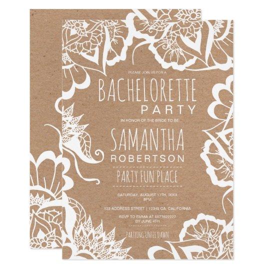 Boho floral mandala rustic kraft bachelorette card