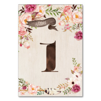 Boho Floral Rustic Wedding Table Number Card