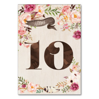 Boho Floral Rustic Wedding Table Number Card 10