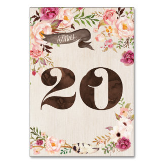 Boho Floral Rustic Wedding Table Number Card 20