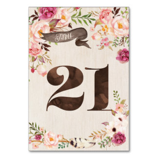 Boho Floral Rustic Wedding Table Number Card 21