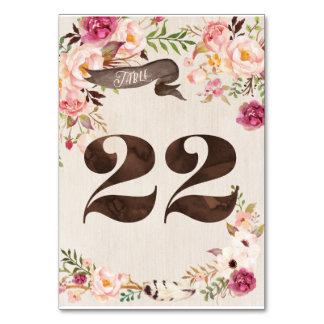 Boho Floral Rustic Wedding Table Number Card 22