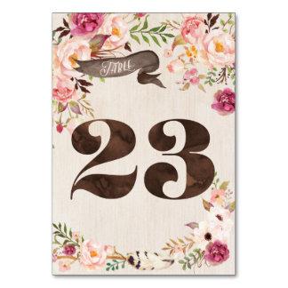 Boho Floral Rustic Wedding Table Number Card 23