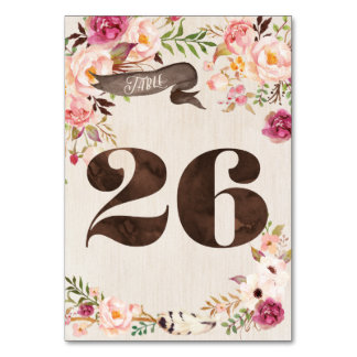 Boho Floral Rustic Wedding Table Number Card 26