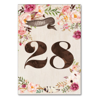 Boho Floral Rustic Wedding Table Number Card 28