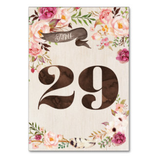 Boho Floral Rustic Wedding Table Number Card 29