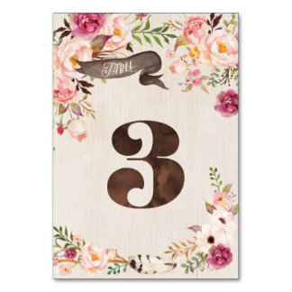 Boho Floral Rustic Wedding Table Number Card 3
